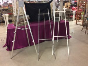 White, Silver and Aluminum Easels
