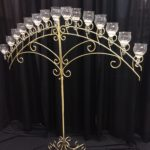 15 light brass arch with teardrop globes
