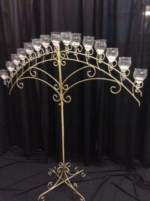 15 light brass arch with teardrop globes