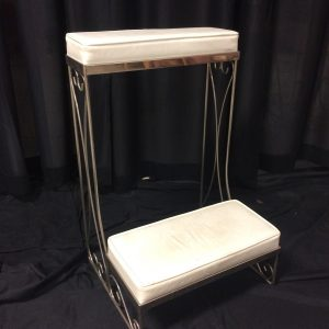 Kneeling bench, available in brass or nickel, comes in pair